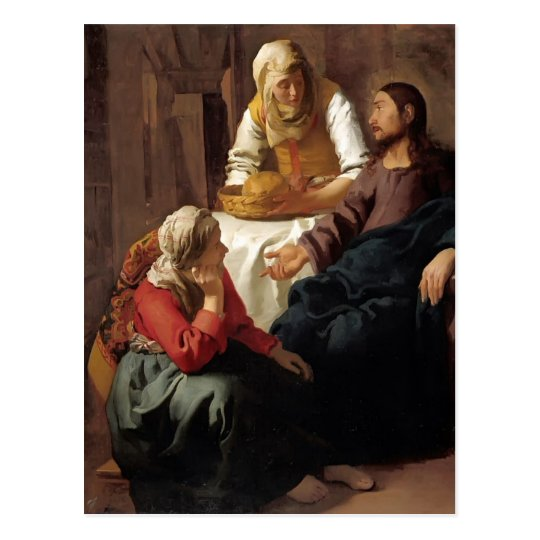 Christ in House of Martha,Mary by Johannes Vermeer Postcard