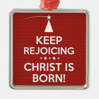 Christ is Born Ornament - Square