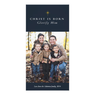 Christ is born religious Christmas photo card