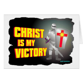 Christ is my victory religious design greeting cards