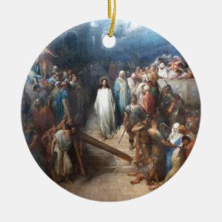 Christ Leaving Praetorium Round Ceramic Ornament
