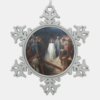 Christ Leaving Praetorium Snowflake Pewter Christmas Ornament