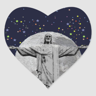 Christ, moon and stars heart sticker
