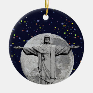 Christ, moon and stars round ceramic ornament