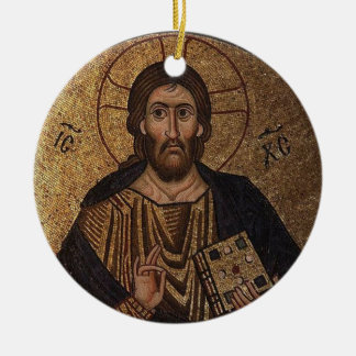 Christ Pantocrator Mosaic Christian Orthodox Icon Ceramic Ornament