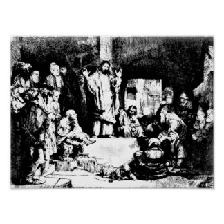 Christ Preaching Rembrandt Etching Poster