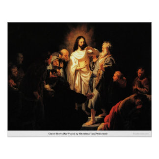 Christ Shows His Wound by Harmensz Van Rembrandt Poster