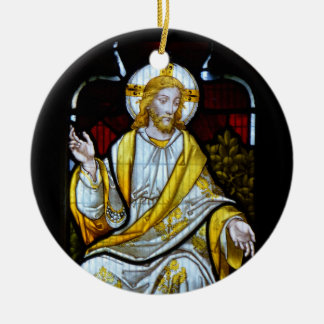 Christ Stained Glass Photograph Cornwall England Round Ceramic Ornament