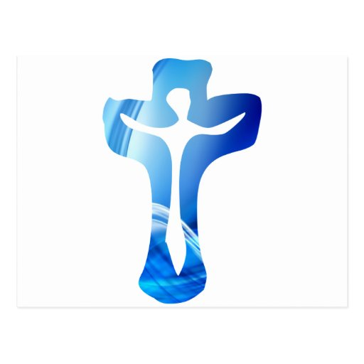 Christ sur croix bleue post cards