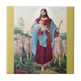 Christ The Good Shepherd Bernard Plockhorst 1878 Tile