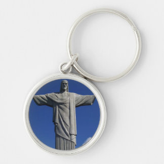 Christ the Redeemer - Brazilian Monument Silver-Colored Round Keychain