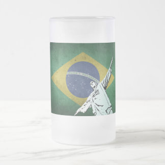 Christ the Redeemer Frosted Glass Beer Mug