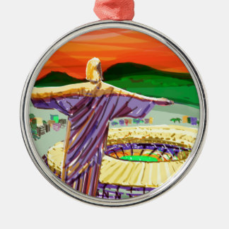 Christ The Redemer and Maracanã Stadium - Rio - Br Metal Ornament
