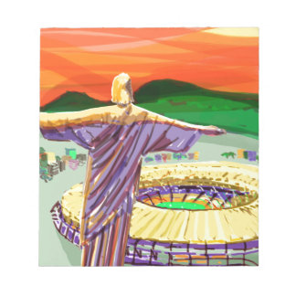 Christ The Redemer and Maracanã Stadium - Rio - Br Notepad