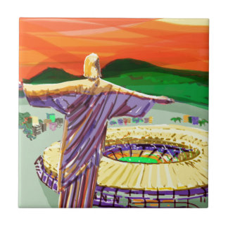Christ The Redemer and Maracanã Stadium - Rio - Br Tile
