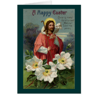 Christ the Shepherd with Lamb Vintage Easter Greeting Card