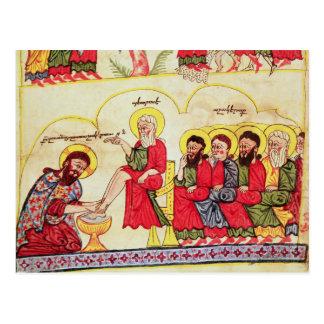 Christ washing the disciples feet postcard