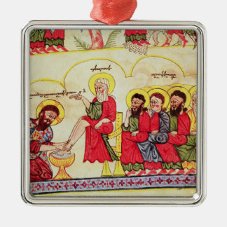 Christ washing the disciples feet Silver-Colored square ornament