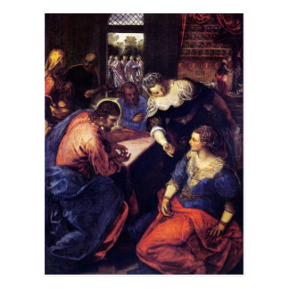 Christ with Mary and Martha by Tintoretto Postcard