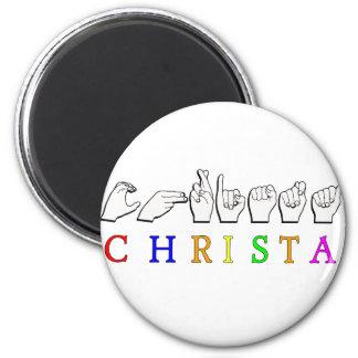 CHRISTA NAME FINGERSPELLED ASL SIGN MAGNET