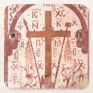 Christain Cross Artwork Square Paper Coaster
