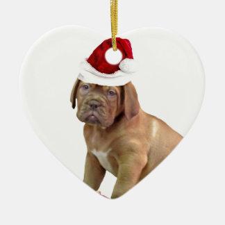 Christas Dogue de Bordeaux puppy Ceramic Heart Ornament