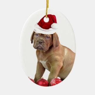 Christas Dogue de Bordeaux puppy Ceramic Oval Ornament