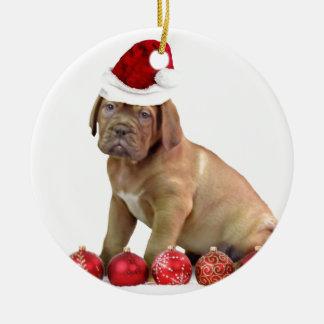 Christas Dogue de Bordeaux puppy Round Ceramic Ornament