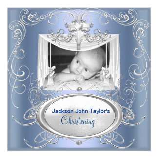 Christening Baptism Baby Boy Silver Blue Cross Custom Announcements