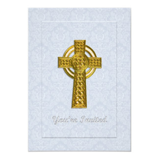 """Christening Blue Damask with Gold  Cross 5"""" X 7"""" Invitation Card"""
