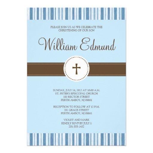 Christening Blue Stripe Invitation - Boy