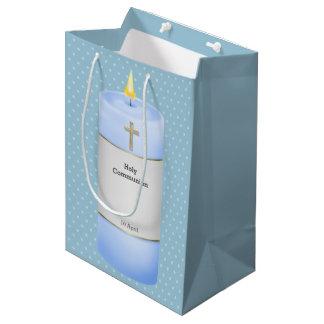 Christening candles boy * choose background colour medium gift bag