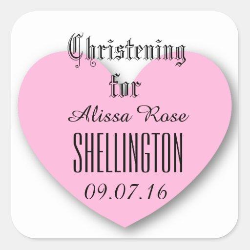 Christening for Girl PINK HEART V03 Square Sticker