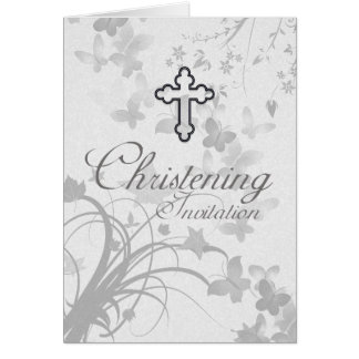 Christening Invitation With Cross And Faded Butter