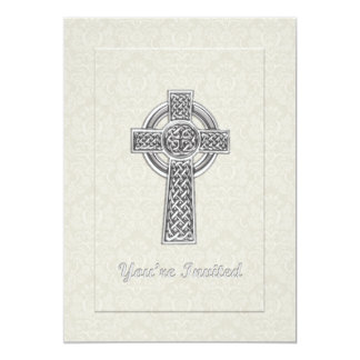 """Christening Ivory Damask with Silver  Cross 5"""" X 7"""" Invitation Card"""