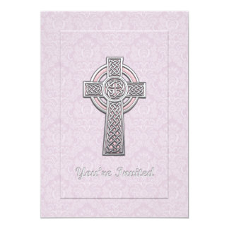 """Christening Pink Damask with Silver & Pink Cross 5"""" X 7"""" Invitation Card"""