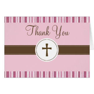 Christening Pink Stripe Thank You Card
