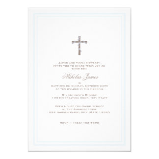 """Christening Soft Blue and Brown 5"""" X 7"""" Invitation Card"""