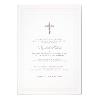"""Christening Soft Pink and Brown 5"""" X 7"""" Invitation Card"""