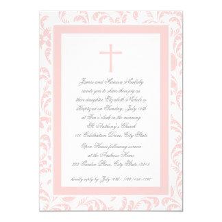 "Christening Soft Pink Paisley 5"" X 7"" Invitation Card"