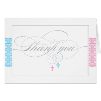 Christening Thank You Card  |  Twins