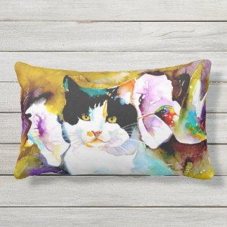 """""""Christeve the Cat with Hummingbird"""" Print Outdoor Pillow"""
