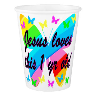 CHRISTIAN 1 YEAR OLD BUTTERFLY BIRTHDAY DESIGN PAPER CUP