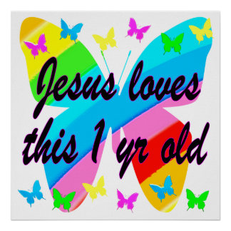 CHRISTIAN 1 YEAR OLD BUTTERFLY BIRTHDAY DESIGN POSTER