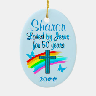CHRISTIAN 50TH BIRTHDAY PERSONALIZED ORNAMENT