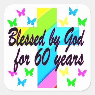 CHRISTIAN 60 BIRTHDAY CROSS DESIGN SQUARE STICKER