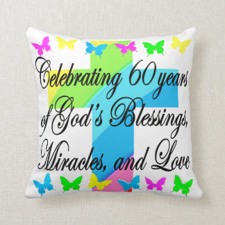 CHRISTIAN 60TH BIRTHDAY CROSS AND BUTTERFLY PILLOW