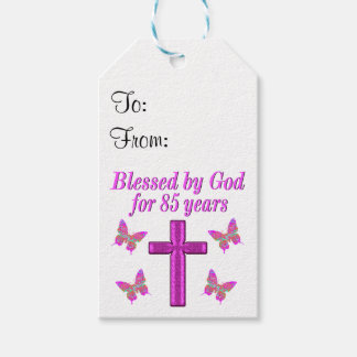 CHRISTIAN 85TH BIRTHDAY PINK CROSS DESIGN PACK OF GIFT TAGS