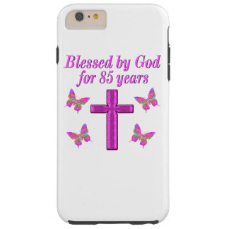 CHRISTIAN 85TH BIRTHDAY PINK CROSS DESIGN TOUGH iPhone 6 PLUS CASE