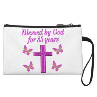 CHRISTIAN 85TH BIRTHDAY PINK CROSS DESIGN WRISTLET
